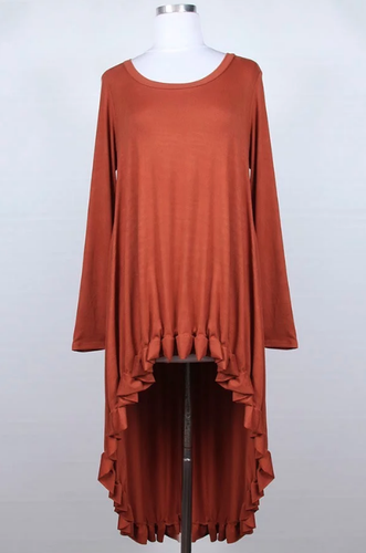 Plus Hi-Lo Tunic ~ Tatiana ~ Available in Black, Rust and Wine