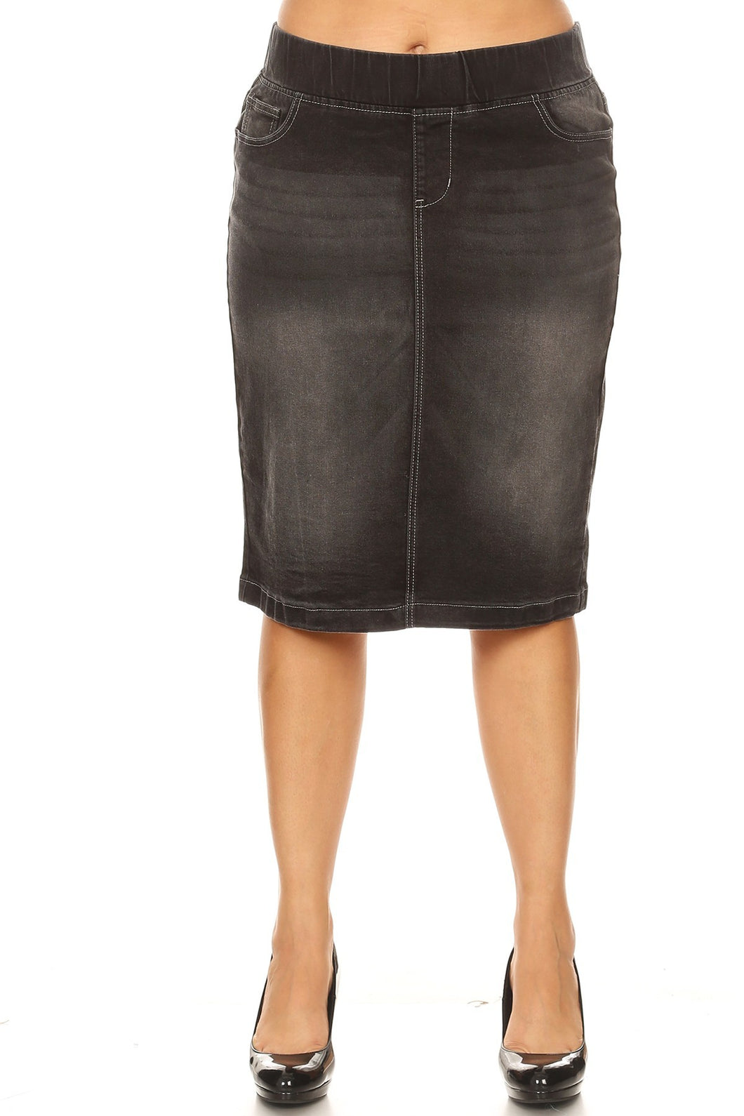 New Color!!  Plus Denim Skirt ~ Ashton ~ Available in Black Wash
