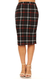 Pencil Skirt - Jewell ~ Black Plaid