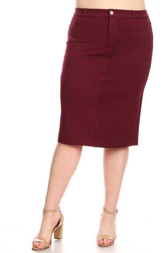 Plus Skirt ~ Miriam ~ Available in Burgundy & Mustard *** HUGE SALE ***