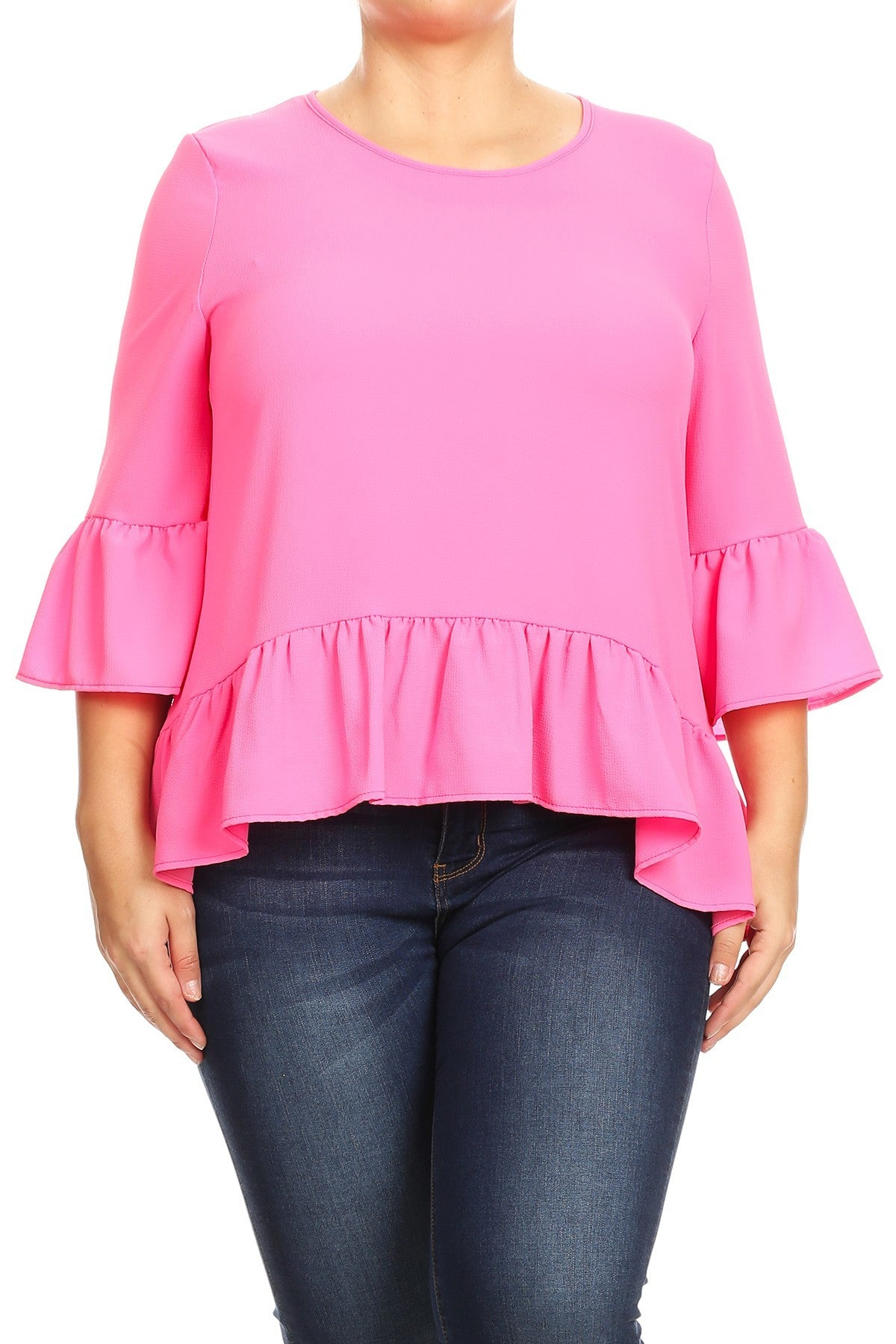 Plus Top ~ Mia ~ Available in Neon Orange and Neon Pink
