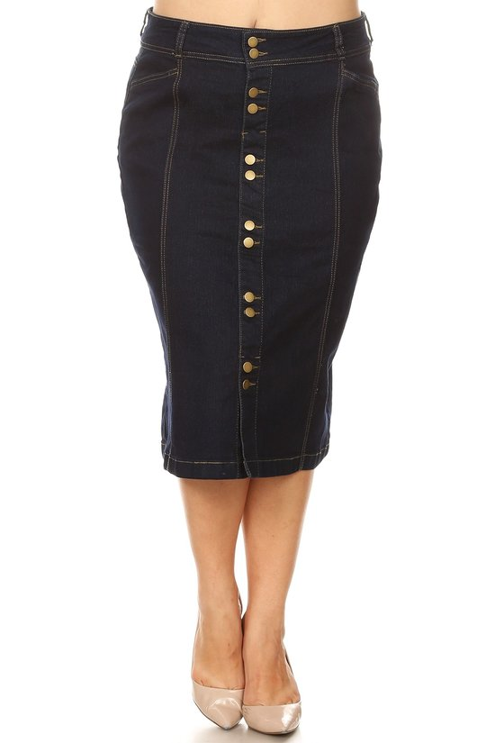 Plus Denim Skirt ~ Shelby