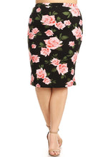 Pencil Skirt~ Black / Pink Rose Floral ~ Tasha ~Last One!!  Size S/M