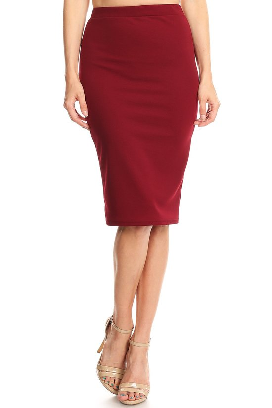 Pencil Skirt - Burgundy