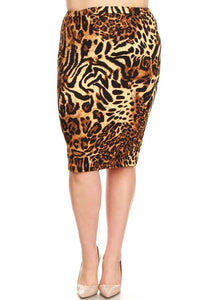 Pencil Skirt ~ Brown Animal Print