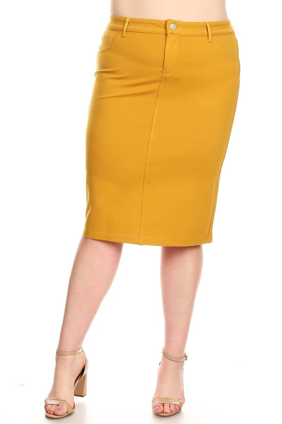 Plus Skirt ~ Miriam ~ Available in Black, Burgundy & Mustard