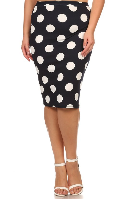 Pencil Skirt ~ Navy and White Large Polka Dot