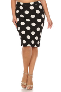 Pencil Skirt - Black and White Large Polka Dot
