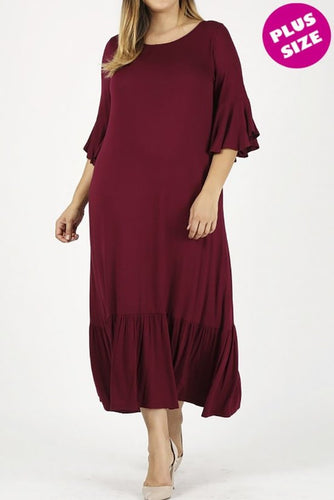 Plus Dress ~ Sadie ~ Available in Black, Burgundy, Grey & Olive