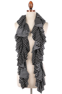 Ruffled Scarf ~ Valerie ~ Available in Black and Navy