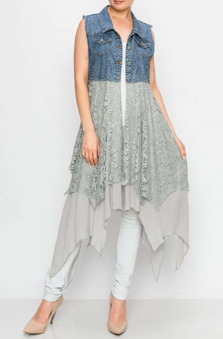 Denim and Lace Vest ~ Mandy