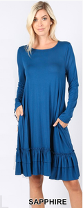Dress ~ Janie with Long Sleeves ~ Available in Black and Sapphire