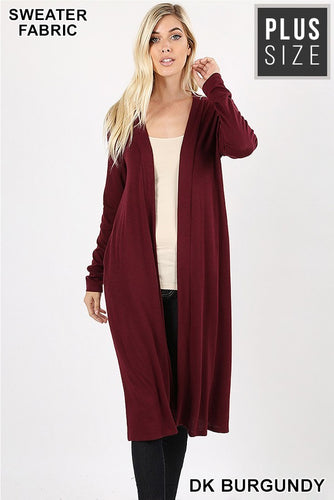 Plus Cardigan ~ Cindy ~ Available in Dark Burgundy and Sage