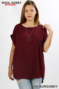 Plus Top ~ Pamela ~ Available in Dark Burgundy and Navy
