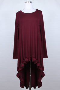 Plus Hi-Lo Tunic ~ Tatiana ~ Available in Black, Rust and Wine *** HUGE SALE ***