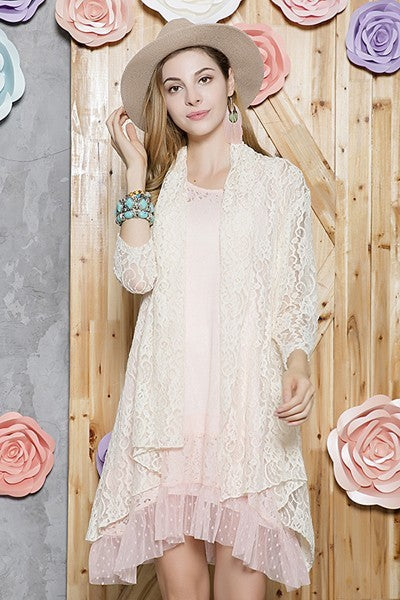 Lace Cardigan ~ Skylar ~ Available in Beige, Black and Taupe *** HUGE SALE ****