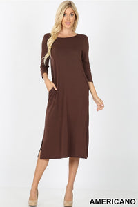Dress ~ Jill ~ Available in Americano Brown, Black and Fired Brick