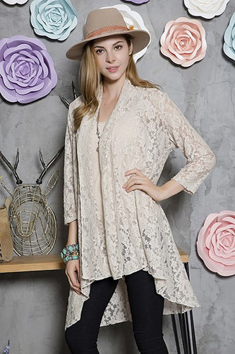 Lace Cardigan ~ Skylar ~ Available in Beige, Black and Taupe