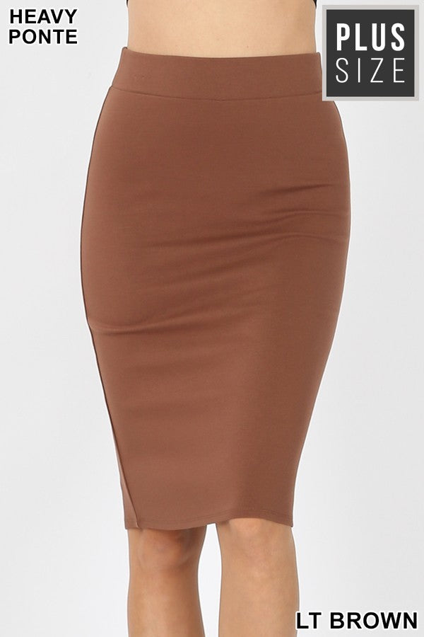 Plus Knee Length Skirt ~ Loni ~ Available in Multiple Colors