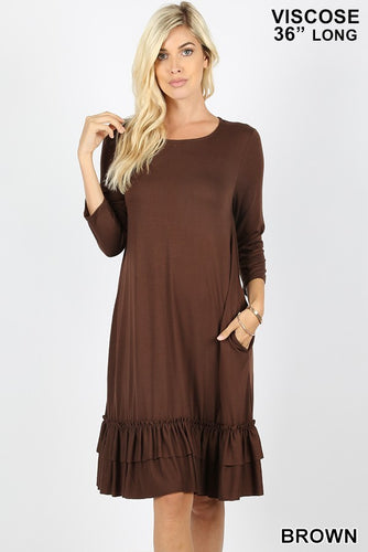 Dress ~ Janie with 3/4 Length Sleeves ~ Available in Multiple Colors