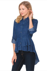 Plus Denim Hi-Lo Shirt ~ Quinn