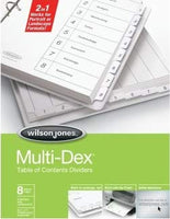 Wilson Jones MultiDex Index Dividers, 8 Tabs, Numbered 1-8, for 8.5 x 11 Inch Sheets, White Tabs Numbered in Black (W90801B) (24)