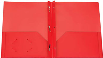 5 Pack Brilney Two-Pocket Heavyweight Poly Portfolio with Prongs, for Letter Size Papers, Includes Business Card Slot, Solid Colors, Includes Bonus Custom AdvantageOP Letter Opener (5 Red)