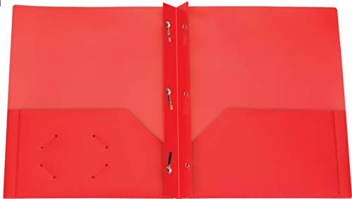 Oxford Two Pocket Poly Portfolio with Prongs, Box of 25, (Red)
