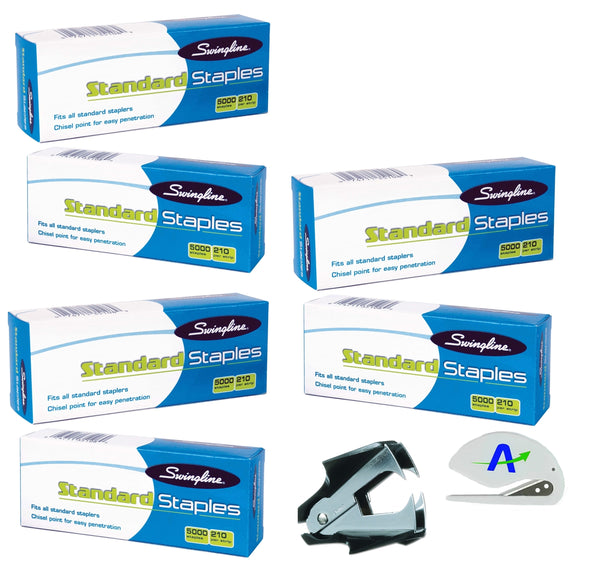 Swingline SF1 Standard Staples, 6 Boxes of 5,000 Per Box, Plus Bonus AOPLLC Letter Opener
