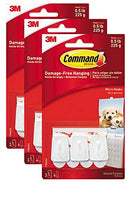3 Packs Command Strip White Hooks, Indoor Use (17066ES), Holds up to Half Pound