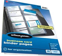 Wilson Jones Business Card Binder Page, 8.5 x 11 Inches, Untabbed, 30 Pack, Clear (W21471)