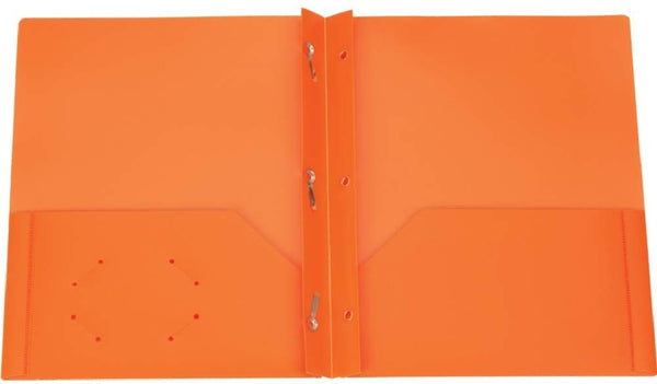 125 Count Oxford Two Pocket Poly Portfolio with Prongs, Letter Size, Tear and Moisture Resistant, (Orange w/Prongs)