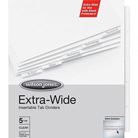 Value Bundle 3 Sets Wilson Jones Extra Wide Oversized Insertable Tab Dividers, 5-Tab Set, Clear Tabs, with Bonus AdvantageOP Letter Opener (55206)