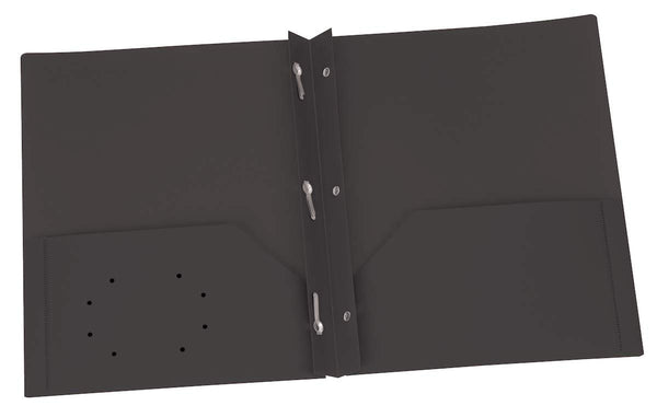 Oxford Two Pocket Poly Portfolio with Prongs, Box of 25, (Black)