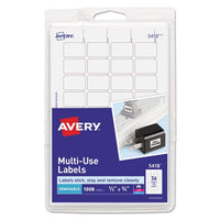 Avery 05418 Removable Multipurpose Label,1/2-Inch x3/4-Inch,1008/PK,White