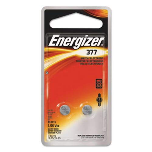 Energizer 377BPZ2 Watch/Electronic/Specialty Battery, 377, 1.5V, 2/Pack