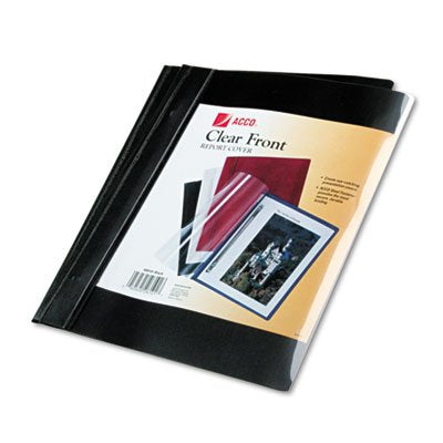 Vinyl Report Cover, Prong Clip, Letter, 1/2'' Capacity, Clear Cover/Black Back, Total 5 PK, Sold as 1 Carton
