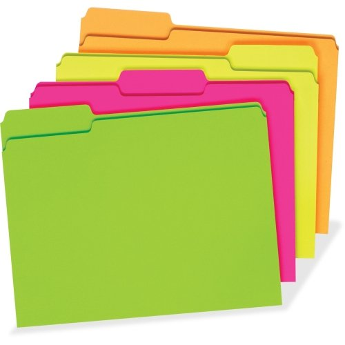 "Pendaflex Glow File Folders, 1/3 Cut, 8 1/2"" x 11"", Letter Size, Assorted Colors, Pack of 24"