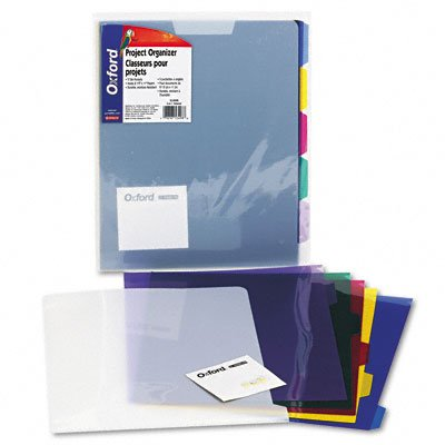 Pendaflex 5 Folder Project Organizer, Removable Poly Tab Folders, Ice, Assorted Color Tabs, 8.5x11, 5 Tabs, (53498)