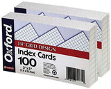 Oxford 02035 Printable Grid Index Cards, 3 x 5, White, 100/Pack, 3 Packs Plus Custom Retractable Pen (6)