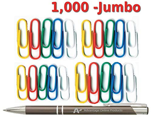 1,000 Plastic-Coated Paper Clips, Jumbo, Assorted Colors, 2 Inch Length, Blue, Green, Red, White, Yellow