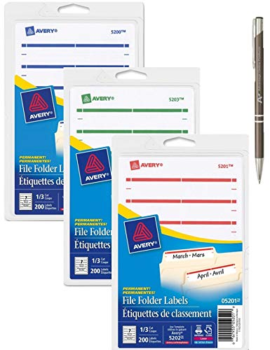 Avery Permanent File Folder Labels, 3 Pack, Dark Blue, Dark Red, Green Plus Bonus AdvantageOP Retractable Pen