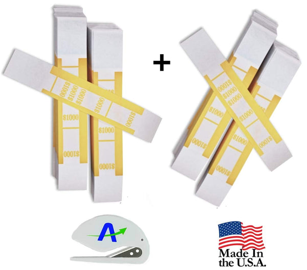 ICONEX SecurIT Currency Straps, Currency Bands, 1000.00, Self Adhesive, 2 Packs of 1000, 55031 Plus Custom Letter Opener