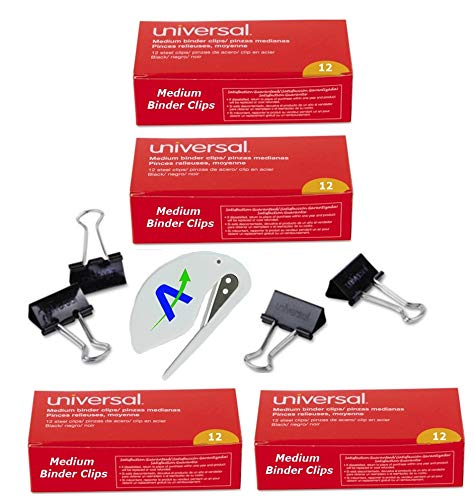 Medium Binder Clips 1.25 Inch Wide, with AOP Letter Opener, 72050, 10210, (48)