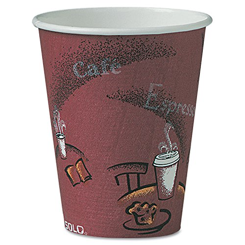 SOLO Cup Company - Bistro Design Hot Drink Cups, Paper, 8oz, Maroon, 500/Carton OF8BI-0041 (DMi CT