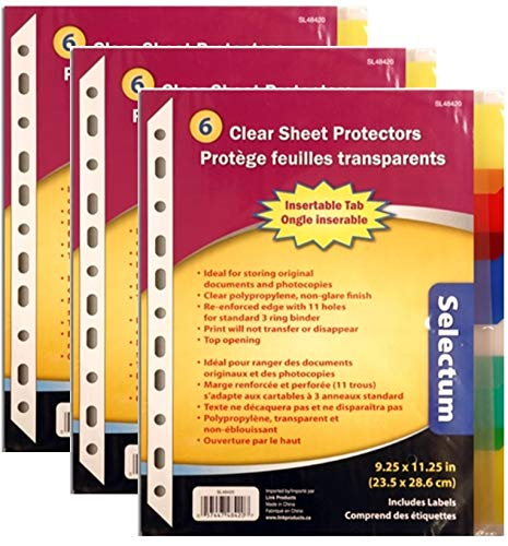 Top Opening Clear Sheet Protector Set, Non-Glare, with 6 Colored Tabs (3)