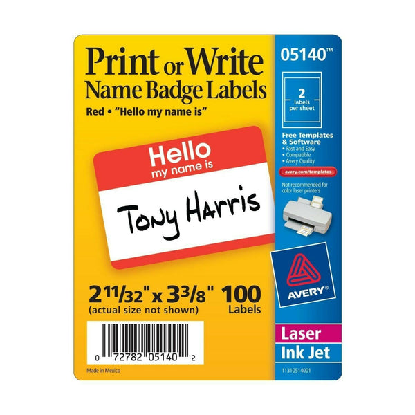Avery Border Name Badge Labels, Red, Box of 600, 2.34 x 3.375 Inches (5140) -...