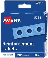 Avery Clear Self-Adhesive Reinforcement Labels, Round, Pack of 200 (5721), 3 ...