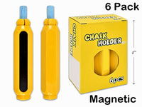 6-Pack Magnetic Chalk Holders, Yellow, 3.50 Inches Long