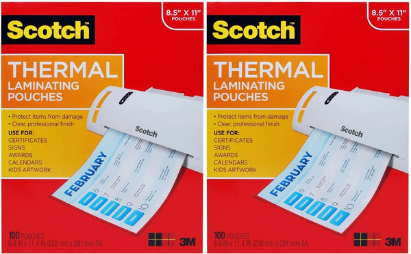 Scotch Thermal Laminating Pouches, 100-Pack, 8.9 x 11.4 Inches, Letter Size S...